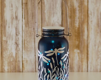 Mason jar light, white dragonflies, hand painted, blue and white, jar with fairy lights, table decor, desk decor, dorm decor