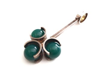 Kupittaan Kulta Chrysoprase Necklace Pendant, Elis Kauppi, Floating Balls Scandinavian Silver 1960s, Chrysopase Green Gemstone Pendant