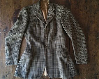 1960s H. Huntsman & Sons Savile Row Wool Tweed Bespoke Ladies Riding Hacking Jacket Sm