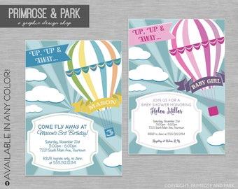 Up Up and Away Invitation Printable // Birthday, Baby Shower, Graduation // Hot Air Balloon Invitation // Digital File