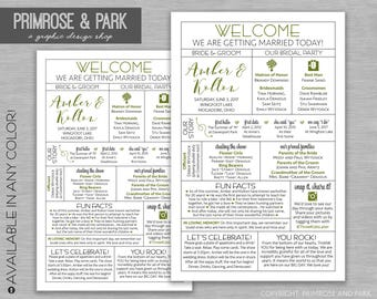 Infographic Wedding Program // Printable Ceremony Program // Infographic Program //Unique Wedding Program