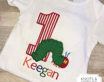 Embroidered Hungry Caterpiller Birthday bodysuit/ shirt