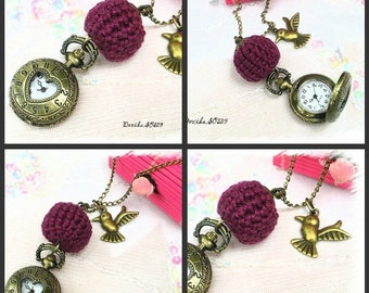 Pocket Watch necklace bird Devika SO539