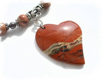 """edna"" CO170 red Jasper Heart Necklace"