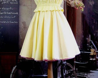 Skirt Corolla 34 to 44 yellow cotton Rockabilly clear MIDI elastic waist was chic