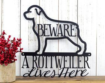 Rottweiler Metal Wall Art | Metal Sign | Outdoor Sign | Rottweilers | Metal Wall Decor | Wall Hanging | Beware | Pet | Gift