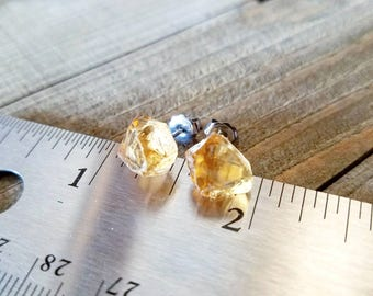 Citrine earrings - citrine stud earrings - rough citrine - citrine jewelry - hypoallergenic - November birthstone - raw citrine earrings
