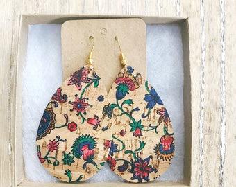 Floral Cork Leather Teardrop Earring, leather statement earring, floral print earring
