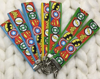 Superheroes Keychains/Key Fob, batman, superman, green lantern, captain america, wonder woman, the flash, nerd, geek