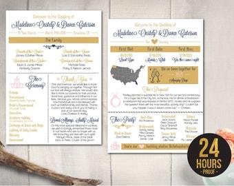 Wedding Program Card, Cute Infographic Program, Modern Elegant Gold Program, Creative Wedding Program, Unique DIY Printable Program - P52
