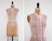 vintage 1920s blouse | 20s pale pink net lace blouse | 1930s clothing antique blouse
