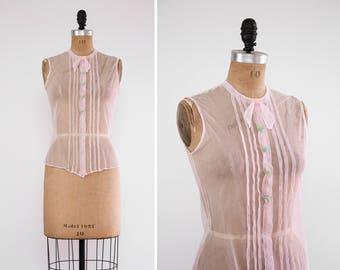 vintage 1920s blouse | 20s pale pink net lace blouse | 1930s clothing antique blouse