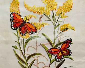 "Vintage Paragon Crewel Embroidery Kit Nature's Blossom, Goldenrod Flowers Monarch Butterflies, Yellow Orange Green Large Size 18"" x 24"""