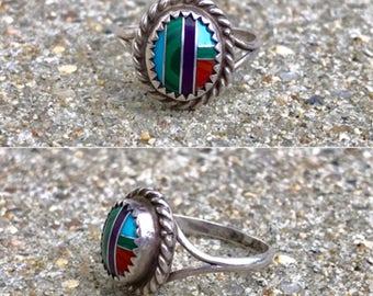 Zuni Native American multistone turquoise malachite southwestern vintage boho ring size 6.5