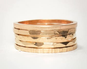 Thick Gold Filled Stacking Rings- Set of 5