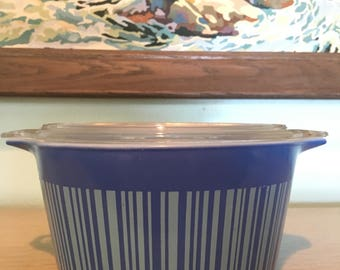 Pyrex Blue Stripe Barcode Pattern Casserole Dish 473 with Lid