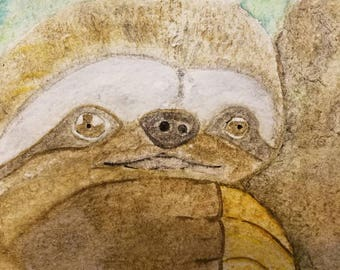 Sloth Watercolor Painting - watercolor wildlife painting