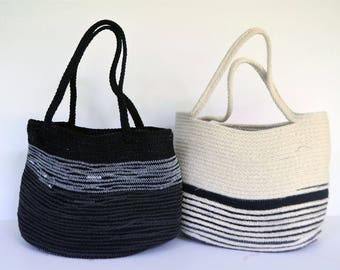 Black and White Coiled Cotton Rope Bag