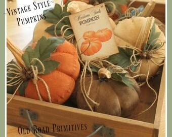 Primitive Pumpkin Pattern - Vintage Style Table Top Pumpkins Instant Download Pattern