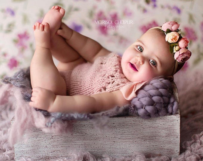 Featured listing image: 3-6 months - Sitter props - Baby girl props - Sitter girl - Sitter romper - Infant props - Sitter size  - Baby girl romper-Sitter girl props