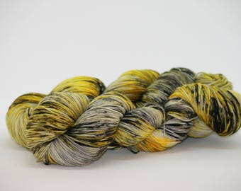 "Hand Dyed Superwash Merino Wool/Nylon in ""Grellow B"". Hand Dyed Yarn. Wool Yarn. Sock Yarn."
