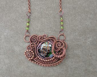 Statement Necklace featuring a Fused Glass Focal in a Copper Wire Worked Pendant