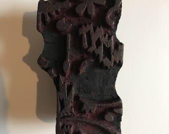 Vintage Carved Wood Printing Block / Antique Printmaking Tool