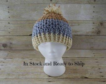 Pom Pom Hat- Ladies Hat - Adult Hat - Hat with  pom pom -  Winter Hat -  - Ready to Ship