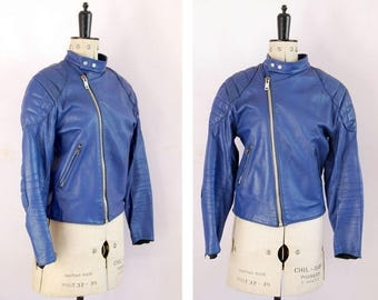 Vintage 1970s 80s Blue padded quilted motorcycle racer leather biker jacket - Biker jacket - Perfecto - Brando - Motorcycle jacket - 38