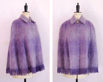 Vintage 1950s 60s Andrew Stewart mohair wool purple plaid tweed fringe cape -  Plaid wool cape - Collar wool cape - Tweed cape - Wool poncho