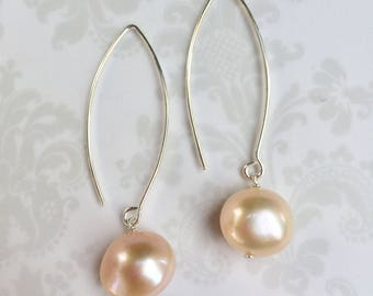 Mia~Natural Peach Color Freshwater Pearl Earrings