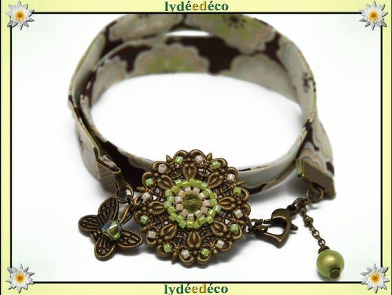 Retro bracelet Pastel print green brown liberty flower White Pearl lime Butterfly bronze Japanese glass