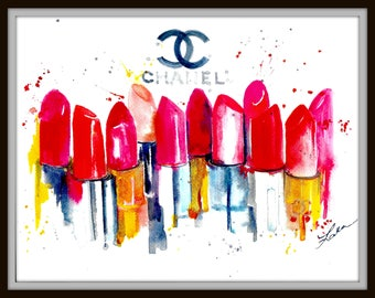 Fashion Illustration, Coco Chanel Art Watercolor, Parisian Glamour Home Decor, Chanel Lovers, Fashionista Home Decor, Art Prints