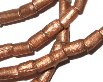 34 inches of Ethiopian Metal Copper Tube Beads 4 mm