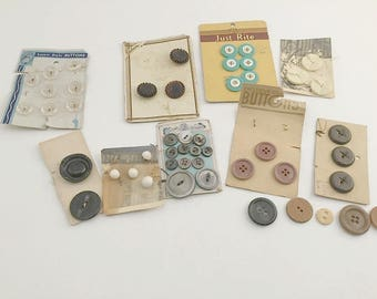 Vintage Buttons, Glass Buttons, Buttons on Card, Black Buttons, Tiny Buttons, Craft Buttons, Sewing Buttons, Ocean Pearl, Just Rite Buttons