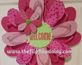"Beautiful ""Watermelon Welcome"" Flip Flop Wreath Wall Door Decor Beach Ocean Unique Gift Pink Lime"