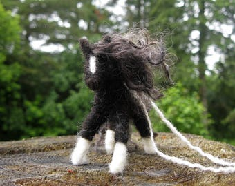 Horse Ornament, Flashy Black and White Felted Horse Ornament, Pony Wreath Decoration, Equestrian Gift