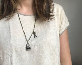 Vintage Mini Lock and Keys Necklace