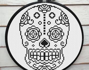 Sugar Skull Day of the Dead Skeleton Black on White Cross Stitch DIY KIT Intermediate