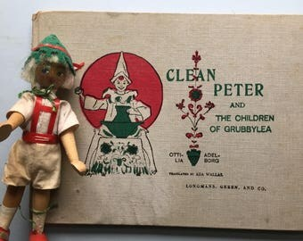 Clean Peter, Children of Grubbylea, Ottilia Adelborg, Ada Wallas, green red, Victorian, Edwardian, charming illustrations