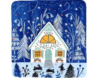 "Winter cabin 7 x7"" giclee print"