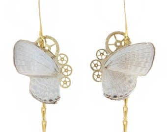 Boucles d'oreille Aponi blanc réalisées à partir de véritables ailes de papillon