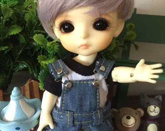 overall boy set outfit and t shirt for lati yellow pukifee muichan 1/8 16cm bjd dolls (handmade)