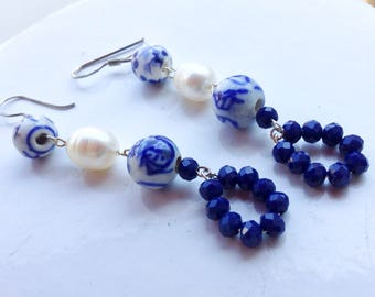silver dangle earrings with blue delft boules, freshwater pearls and blue crystals drop pendant, long dangle earrings, romantic earrings