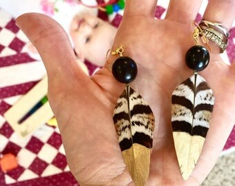 Handpainted Gold Feather Earrings with Vinage Black Beads