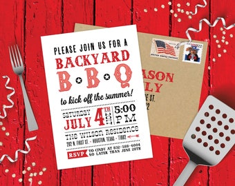 BBQ Party Invitations - Birthday, Graduation, Baby Shower, Backyard Pool, Country, Rustic, Southern - Invites with Envelopes Included