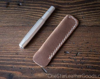 Kaweco Sport pen sleeve - hand stitched Horween Chromexcel leather - natural