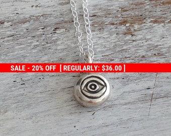 SALE 20% OFF evil eye necklace, silver evil eye,sterling silver necklace,evil eye charm,eye necklace, protection jewelry,tiny necklace-