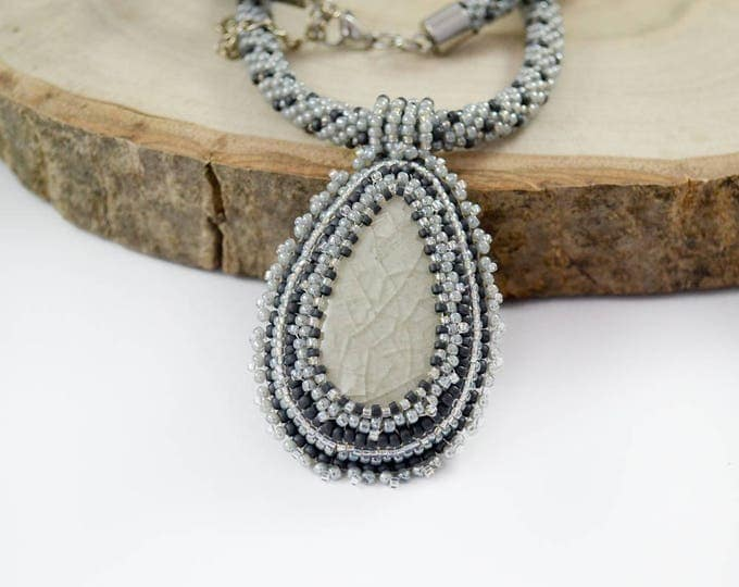 gray cameo necklace, victorian necklace, seed bead necklace, ceramic necklace, statement necklace, stone necklace, beadwork necklace, women