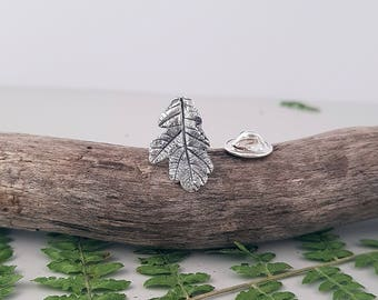Pin brooch / real oak leaf pin brooch / scarf pin badge / sterling brooch / vintage brooch / gift for her / coat decorative / winter jewelry
